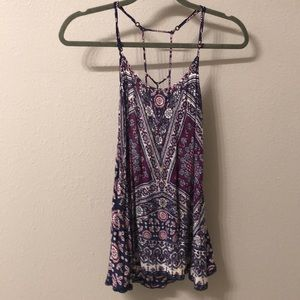Lorimer Purple and Navy Printed Tank Top